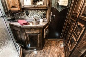 rustic turquoise trailer living quarters 001